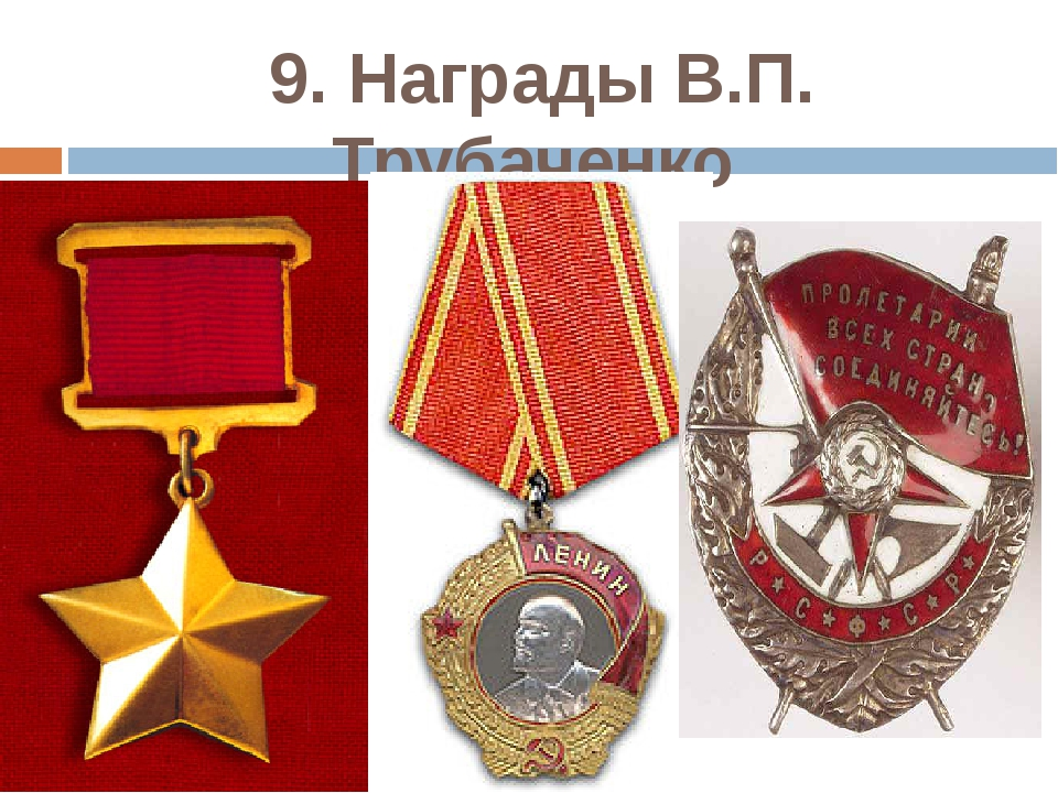 9. Награды В.П. Трубаченко