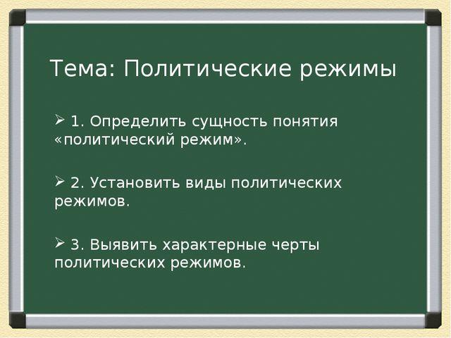 Тема: Политические режимы 1. Определить сущность понятия «политический режим»...