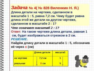 Задача № 4( № 828 Виленкин Н. Я.) Длина детали на чертеже, сделанном в масшта