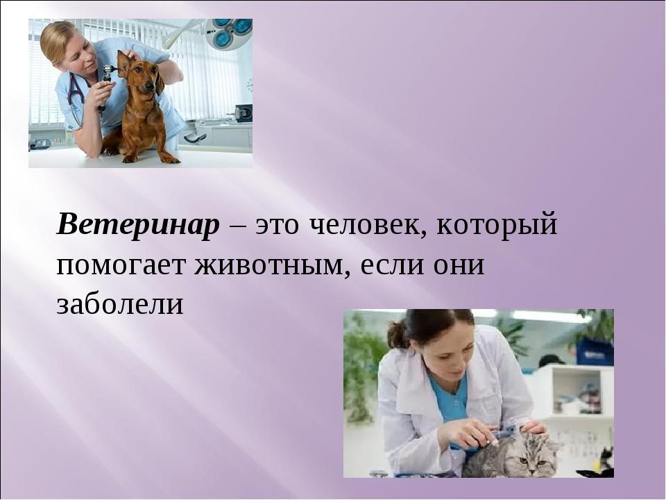 Ветеринар – это человек, который помогает животным, если они заболели