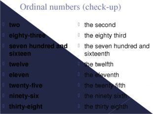 Ordinal numbers (check-up) two eighty-three seven hundred and sixteen twelve