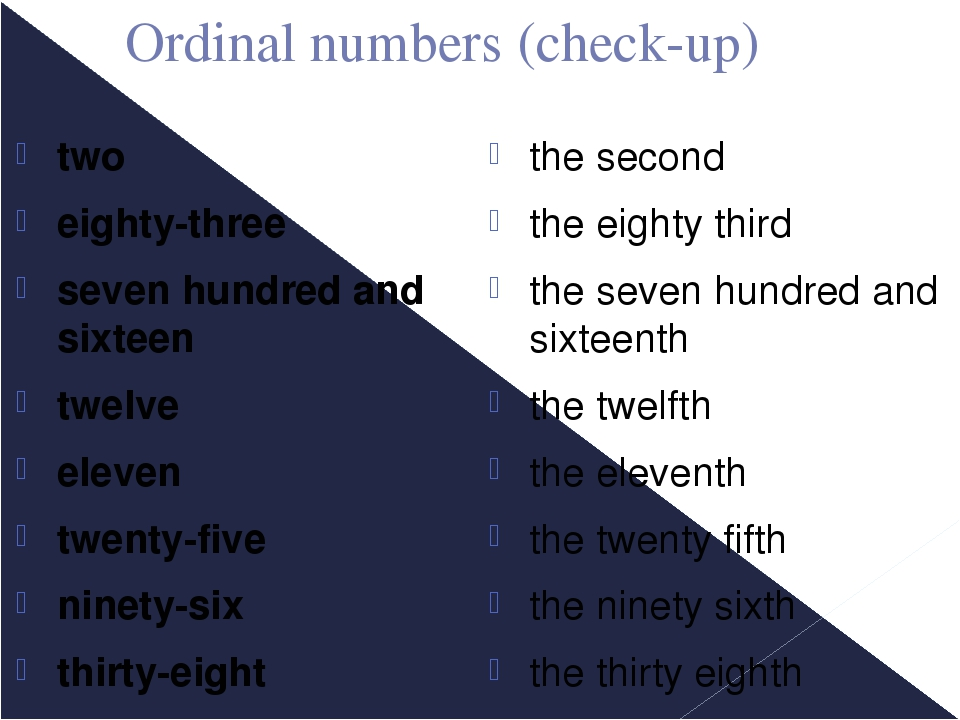 Ordinal numbers (check-up) two eighty-three seven hundred and sixteen twelve...
