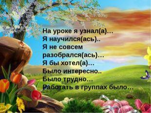 На уроке я узнал(а)… Я научился(ась).. Я не совсем разобрался(ась)… Я бы хоте