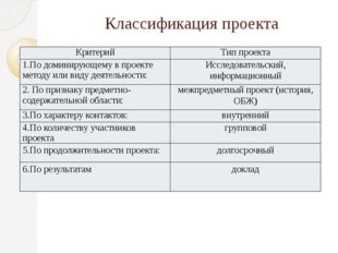 Классификация проекта Критерий Тип проекта 1.По доминирующему в проекте метод
