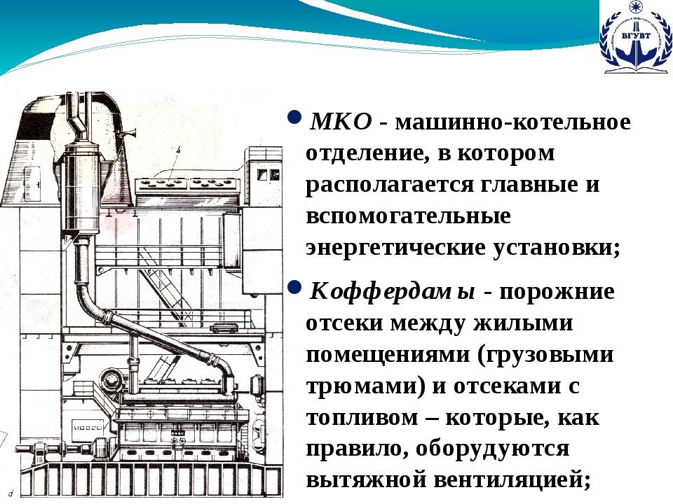 МКО - машинно-котельное отделение, в котором располагается главные и вспомога...