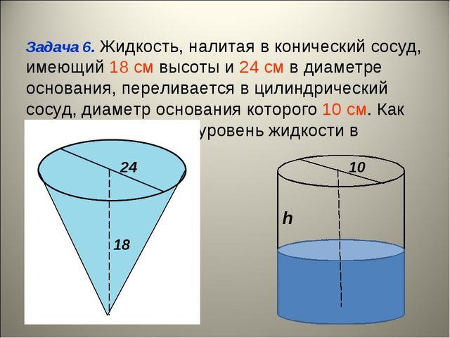 Задача 6. Жидкость, налитая в конический сосуд, имеющий 18 cм высоты и 24 cм...