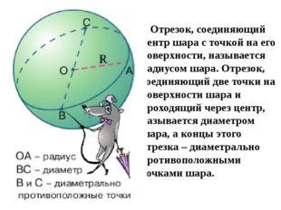 Отрезок, соединяющий центр шара с точкой на его поверхности, называется ради