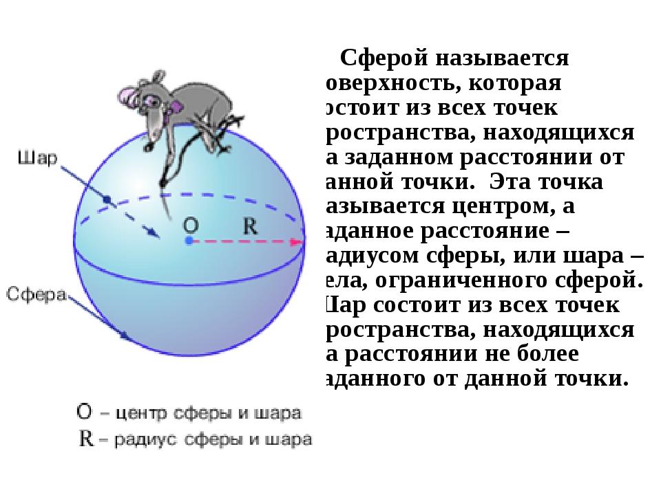 Сферой называется поверхность, которая состоит из всех точек пространства, н...