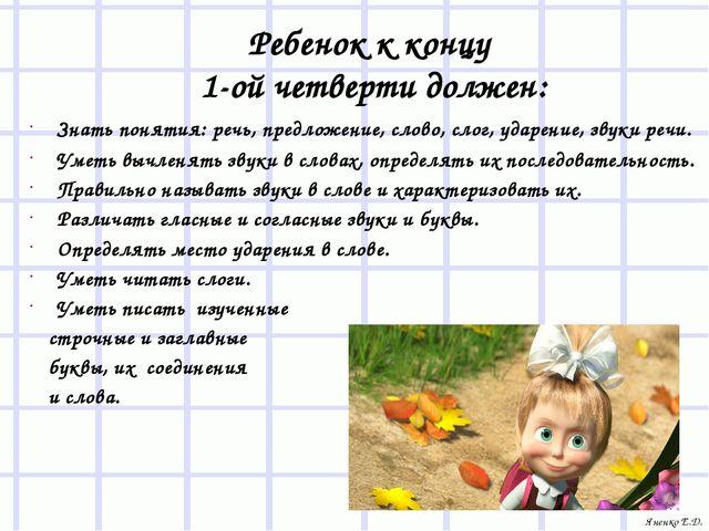 Ребенок к концу 1-ой четверти должен: Знать понятия: речь, предложение, слово...