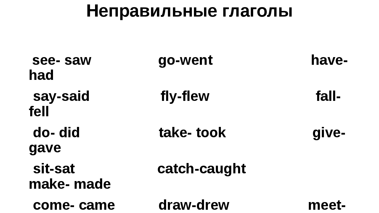 Неправильные глаголы see- saw go-went have- had say-said fly-flew fall-fell d...