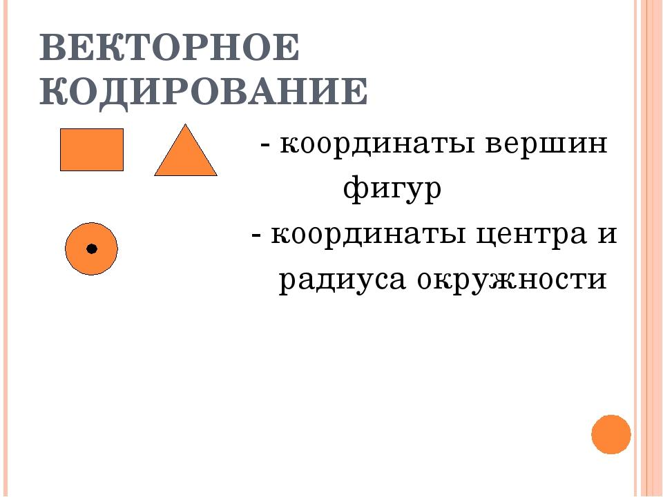 ВЕКТОРНОЕ КОДИРОВАНИЕ - координаты вершин фигур - координаты центра и радиуса...