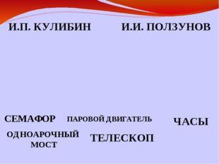 И.П. КУЛИБИН И.И. ПОЛЗУНОВ СЕМАФОР ЧАСЫ ОДНОАРОЧНЫЙ МОСТ ПАРОВОЙ ДВИГАТЕЛЬ ТЕ