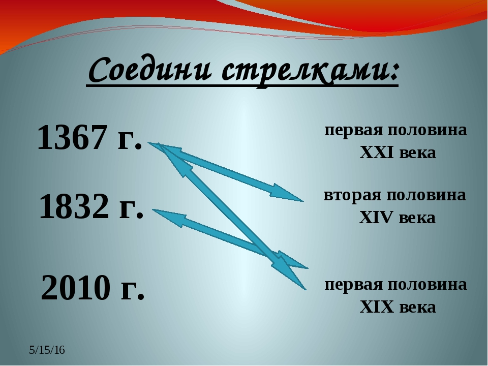 Соедини стрелками: 1367 г. 1832 г. 2010 г. вторая половина XIV века первая по...