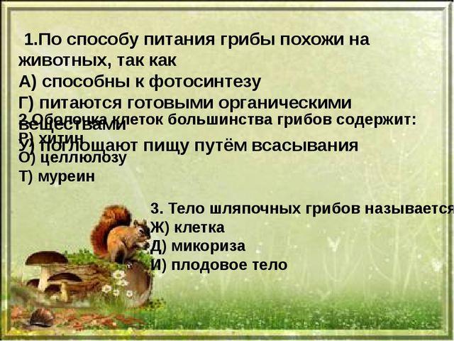 1.По способу питания грибы похожи на животных, так как А) способны к фотосин...