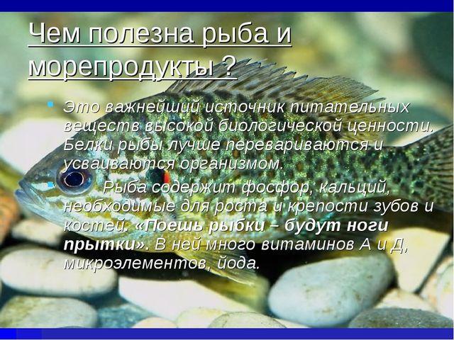 Чем полезна рыба и морепродукты ? Это важнейший источник питательных веществ...