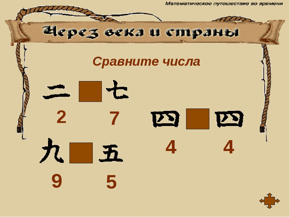 Сравните числа < > = 2 7 9 5 4 4