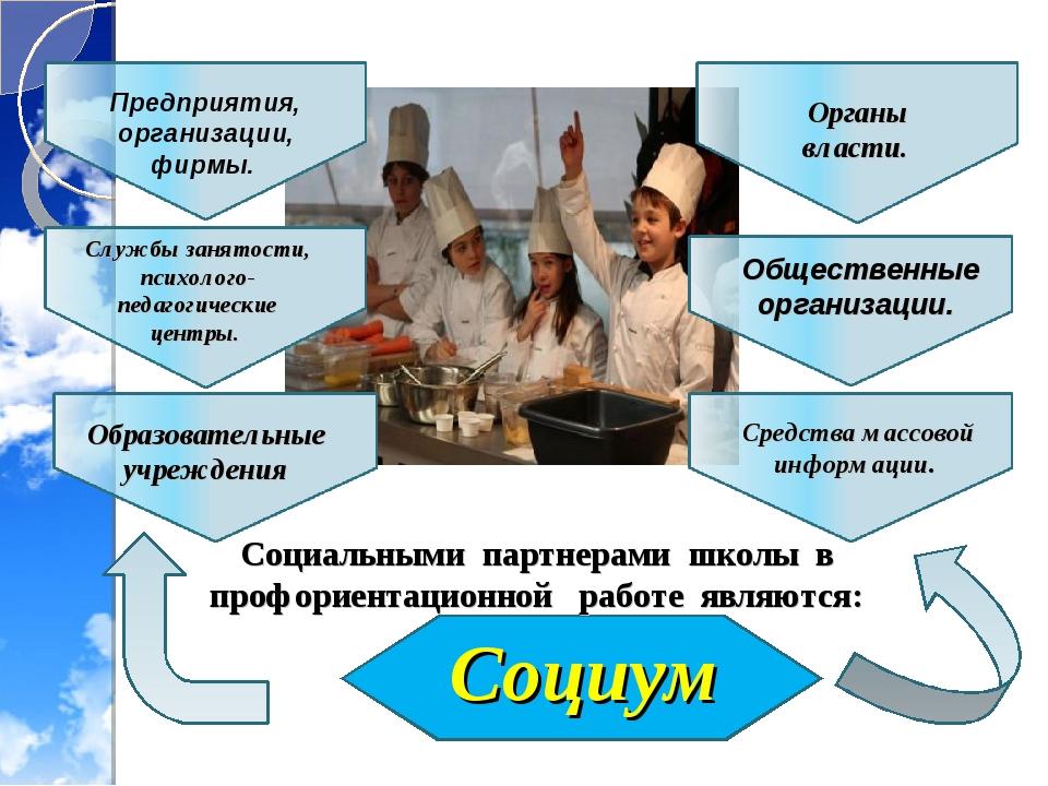 Социум Социальными партнерами школы в профориентационной работе являются: Обр...