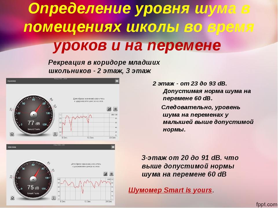 Определение уровня шума в помещениях школы во время уроков и на перемене 2 эт...