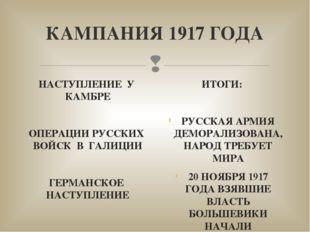 КАМПАНИЯ 1917 ГОДА НАСТУПЛЕНИЕ У КАМБРЕ ОПЕРАЦИИ РУССКИХ ВОЙСК В ГАЛИЦИИ ГЕРМ