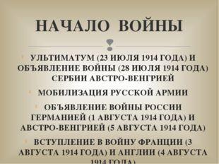 УЛЬТИМАТУМ (23 ИЮЛЯ 1914 ГОДА) И ОБЪЯВЛЕНИЕ ВОЙНЫ (28 ИЮЛЯ 1914 ГОДА) СЕРБИИ