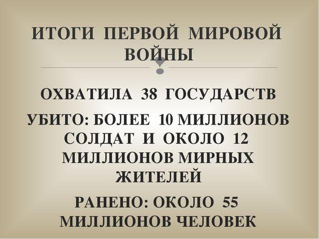 ОХВАТИЛА 38 ГОСУДАРСТВ УБИТО: БОЛЕЕ 10 МИЛЛИОНОВ СОЛДАТ И ОКОЛО 12 МИЛЛИОНОВ...