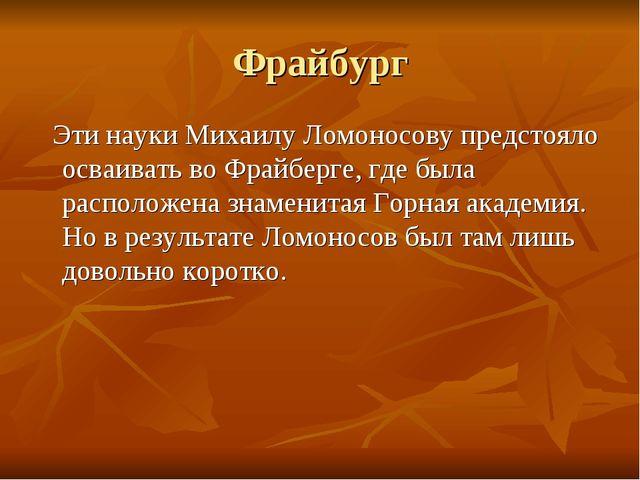 Фрайбург Эти науки Михаилу Ломоносову предстояло осваивать во Фрайберге, где...