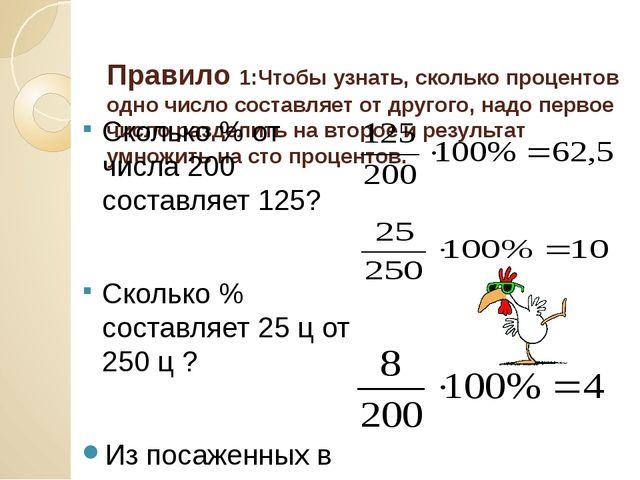 Правило 1:Чтобы узнать, сколько процентов одно число составляет от другого,...