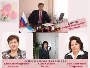 Директор Андрей Анатольевич Красников з а м е с т и т е л и д и р е к т о р а