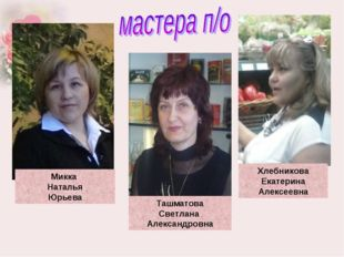 Микка Наталья Юрьева Хлебникова Екатерина Алексеевна Ташматова Светлана Алек