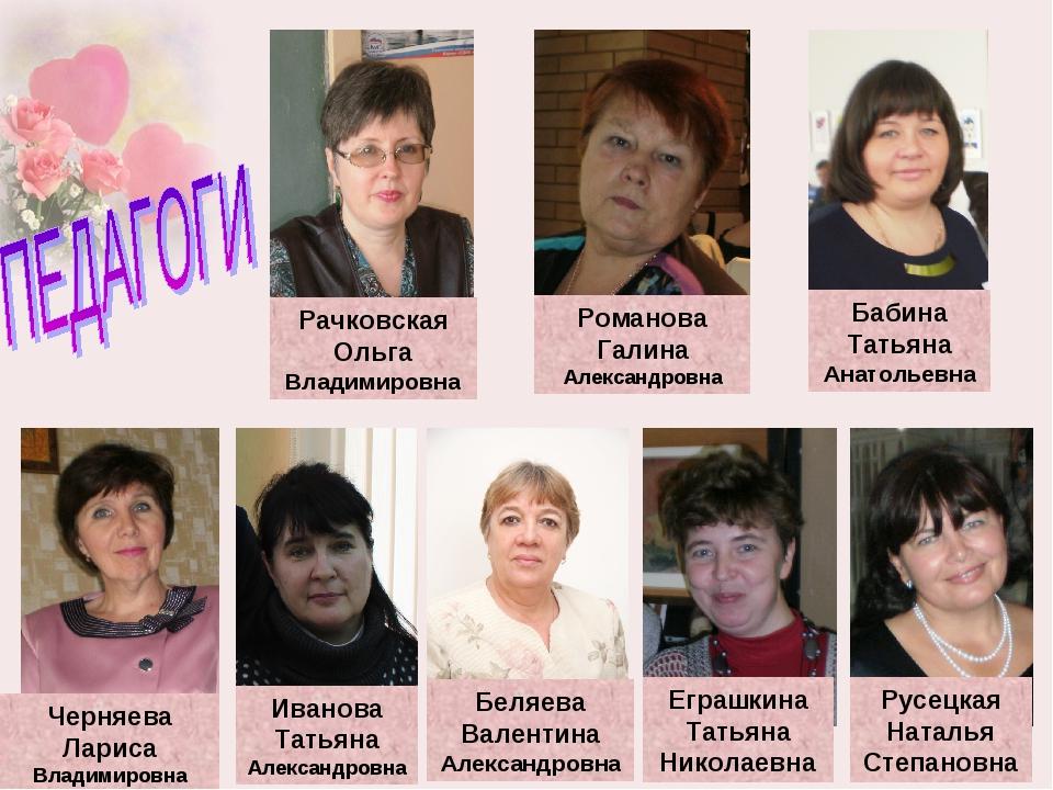 Рачковская Ольга Владимировна Романова Галина Александровна Бабина Татьяна Ан...