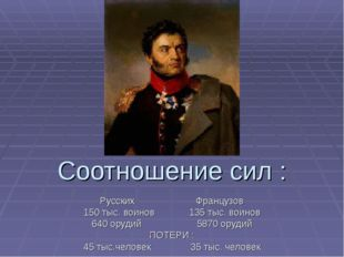 Соотношение сил : Русских Французов 150 тыс. воинов 135 тыс. воинов 640 оруди