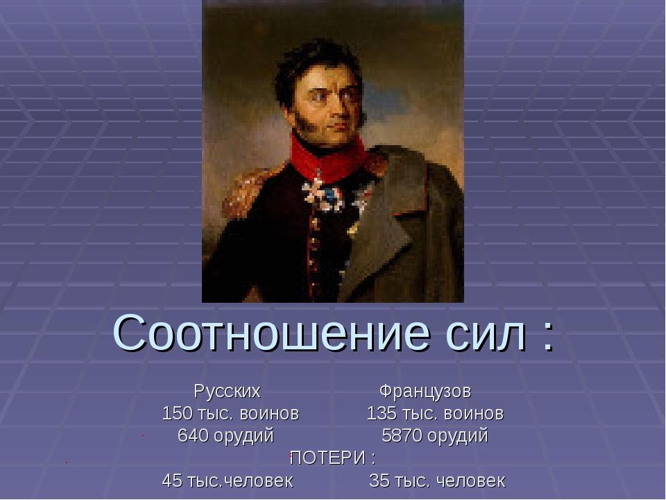 Соотношение сил : Русских Французов 150 тыс. воинов 135 тыс. воинов 640 оруди...