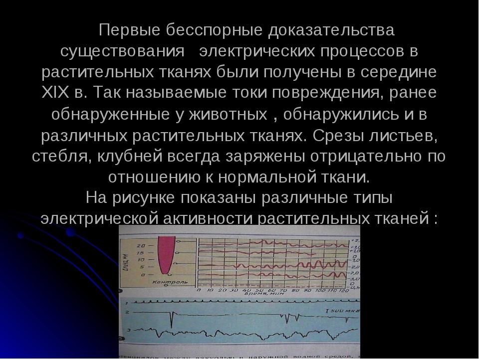 Первые бесспорные доказательства существования электрических процессов в рас...