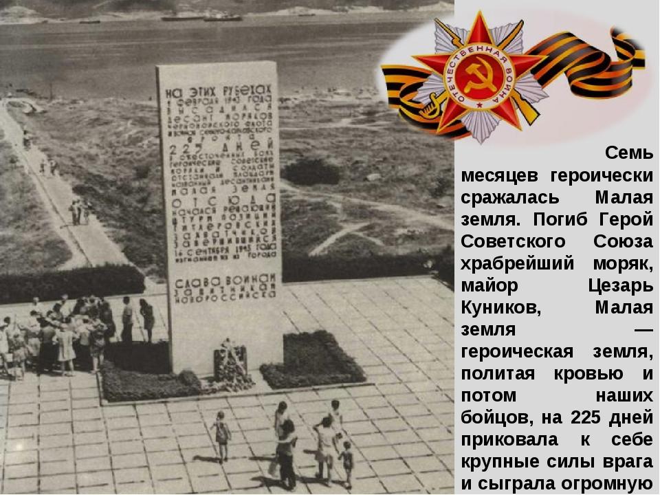 Семь месяцев героически сражалась Малая земля. Погиб Герой Советского Союза...