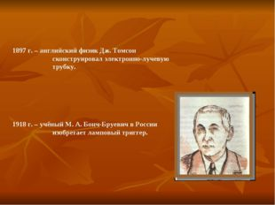 1897 г. – английский физик Дж. Томсон сконструировал электронно-лучевую трубк