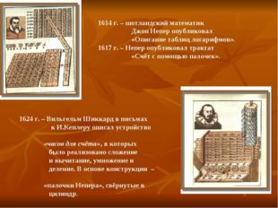 1614 г. – шотландский математик Джон Непер опубликовал «Описание таблиц логар