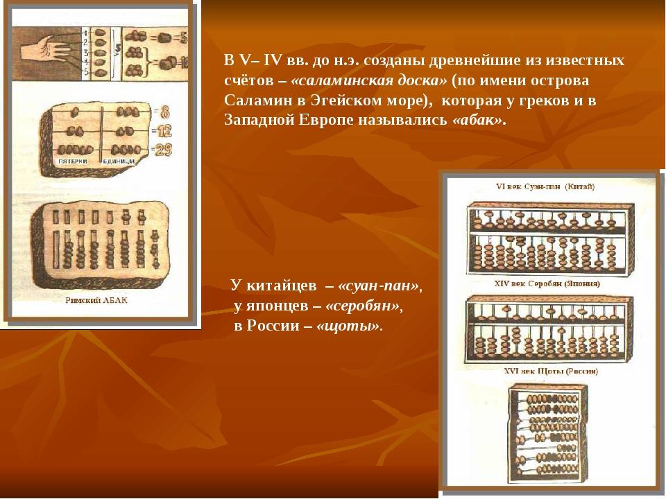 В V– IV вв. до н.э. созданы древнейшие из известных счётов – «саламинская дос...