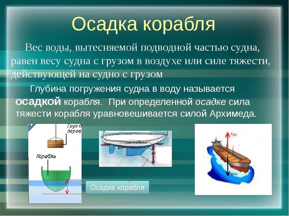 Осадка корабля Вес воды, вытесняемой подводной частью судна, равен весу судна...