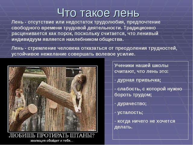 Что такое лень Лень - отсутствие или недостаток трудолюбия, предпочтение своб...