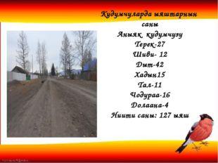 Кудумчуларда ыяштарнын саны Аныяк кудумчузу Терек-27 Шиви- 12 Дыт-42 Хадын15