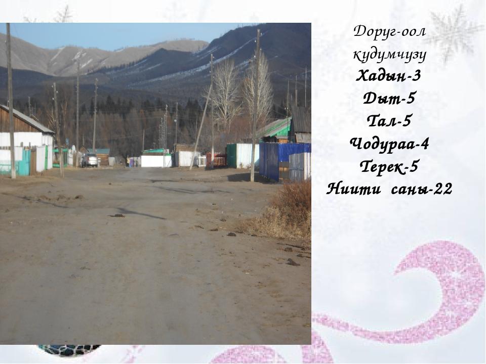 Доруг-оол кудумчузу Хадын-3 Дыт-5 Тал-5 Чодураа-4 Терек-5 Ниити саны-22