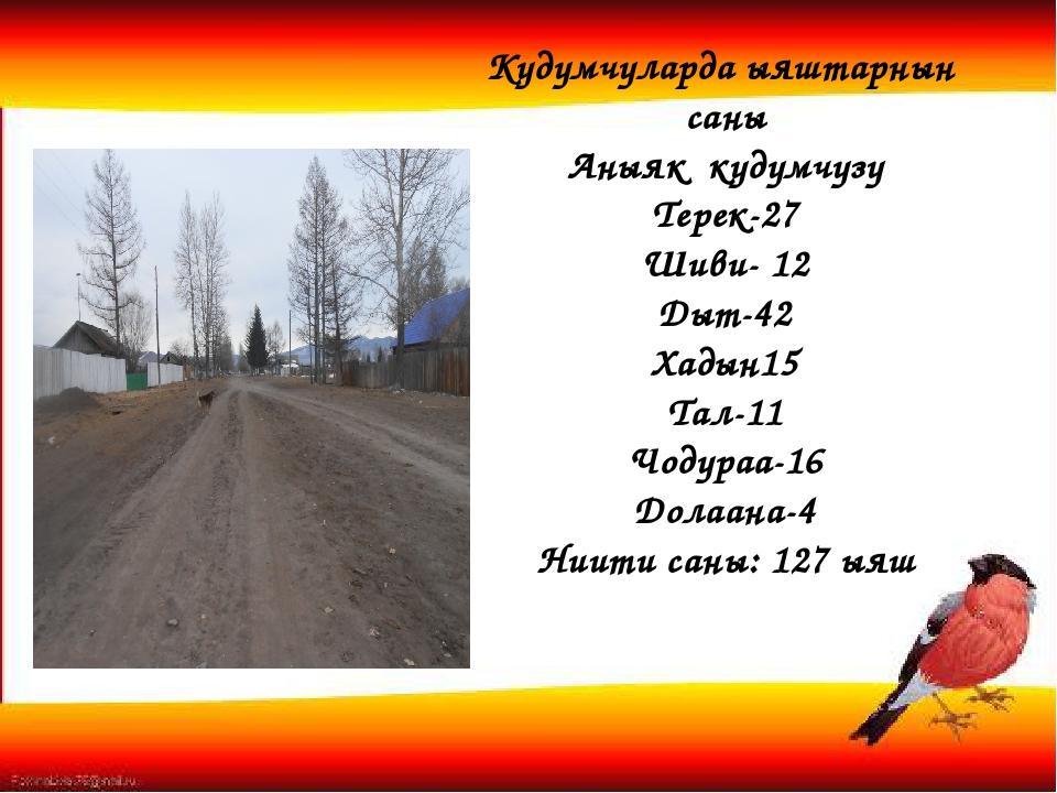 Кудумчуларда ыяштарнын саны Аныяк кудумчузу Терек-27 Шиви- 12 Дыт-42 Хадын15...