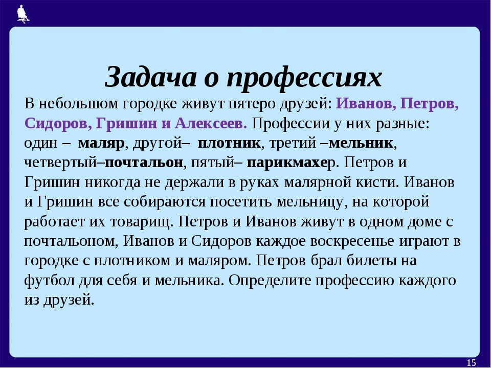 * Задача о профессиях В небольшом городке живут пятеро друзей: Иванов, Петров...