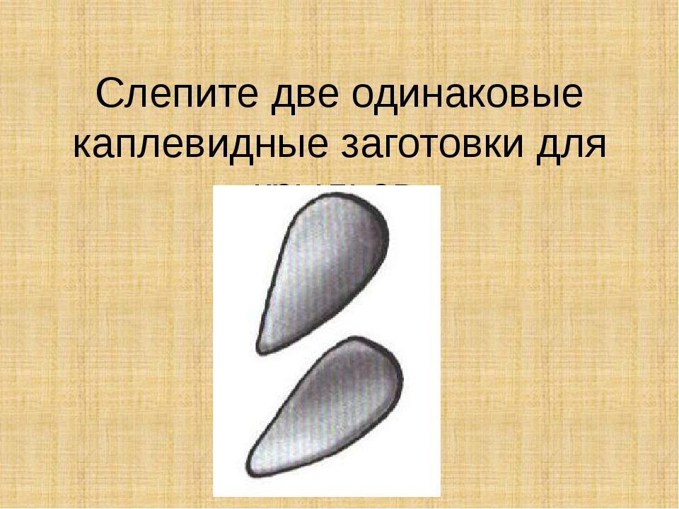 Слепите две одинаковые каплевидные заготовки для крыльев.