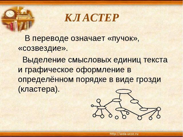 КЛАСТЕР В переводе означает «пучок», «созвездие». Выделение смысловых единиц...