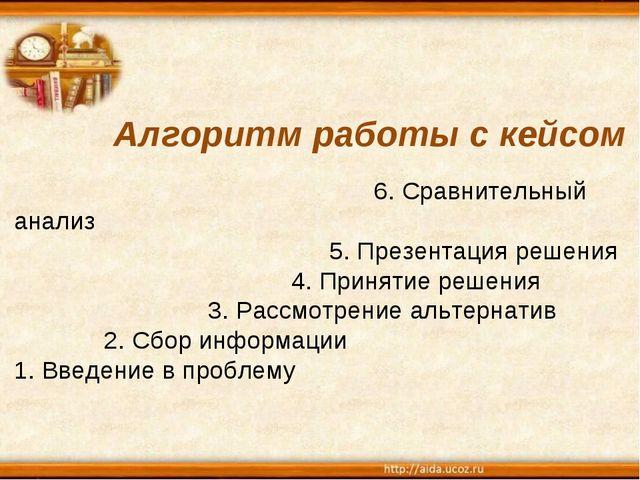 Алгоритм работы с кейсом  6. Сравнительный анализ  5. Презентация реше...