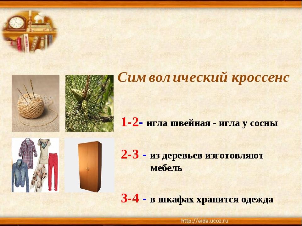 Символический кроссенс 1-2- игла швейная - игла у сосны 2-3 - из деревьев из...