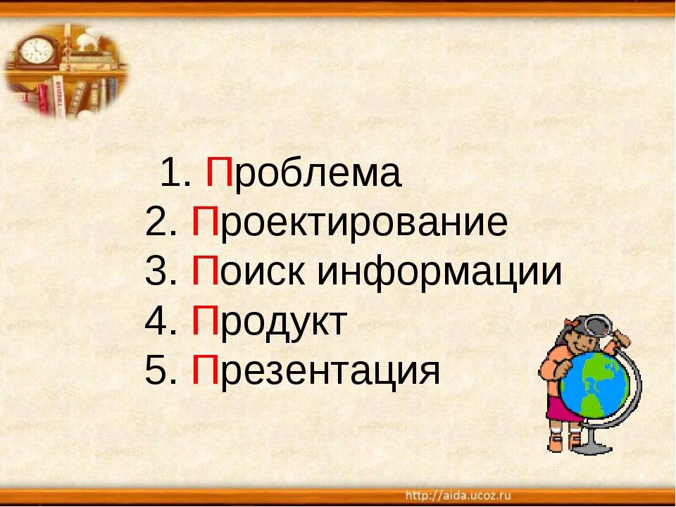 1. Проблема 2. Проектирование 3. Поиск информации 4. Продукт 5. Презентация