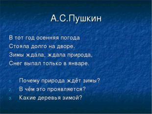 А.С.Пушкин В тот год осенняя погода Стояла долго на дворе. Зимы ждала, ждала