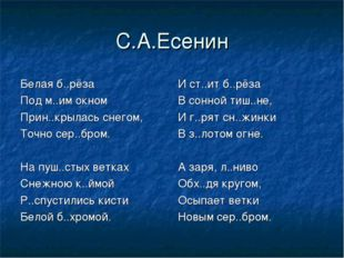 С.А.Есенин И ст..ит б..рёза В сонной тиш..не, И г..рят сн..жинки В з..лотом о